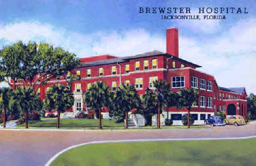 """It looks as if all of the nurses-to-be posed for this picture.  This wonderful postcard dates from around 1920.  According to the caption on the card's back, Brewster Hospital """"has a capacity of 30 beds and is mostly a surgical hospital.  The Training School numbers 15 pupil-nurses."""" The postcard listed the following staff members: Bertha E. Dean, R.N., Superintendent.; Mary E. Seward, Matron; Belle Whitcomb, R.N., Directress of Nurses; Bertha M. Salisburg, Office Secretary; and Mrs. D. B. Street, General Secretary."""