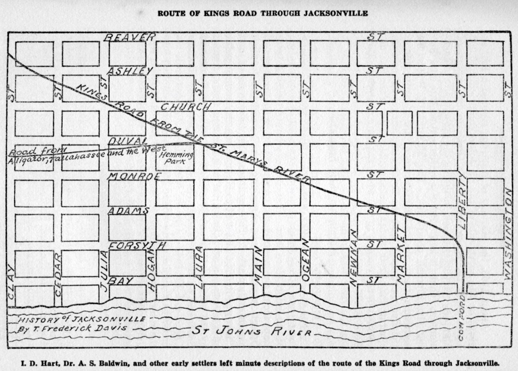 Route of Kings Road through Jacksonville