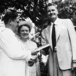 Dr. Hanna, Mrs. Kathryn Abbey Hanna and Governor Caldwell on March 20, 1948. Photo credit: State Archives of Florida.
